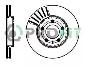 Вентилируемый передний тормозной диск на Сеат Леон 'PROFIT 5010-0927'.