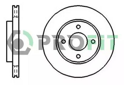 Вентилируемый передний тормозной диск на Форд Фьюжн 'PROFIT 5010-1072'.