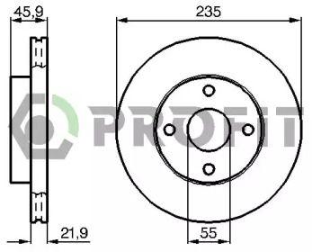 Вентилируемый передний тормозной диск 'PROFIT 5010-1104'.