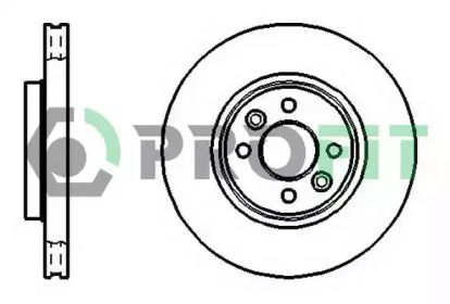 Вентилируемый передний тормозной диск на Ниссан Ноут 'PROFIT 5010-1124'.