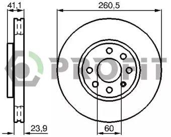Вентилируемый передний тормозной диск на Опель Тигра 'PROFIT 5010-1131'.