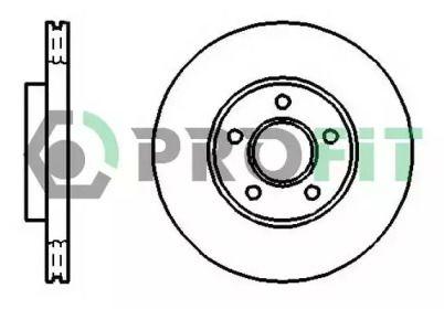 Вентилируемый передний тормозной диск на Форд Транзит Конект 'PROFIT 5010-1172'.