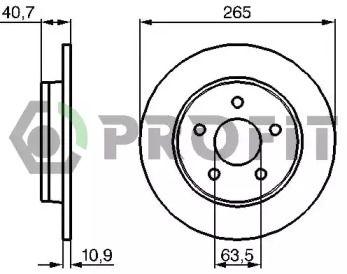 Задний тормозной диск на FORD C-MAX 'PROFIT 5010-1226'.