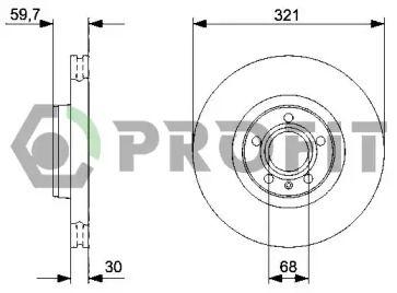 Вентилируемый передний тормозной диск на Ауди А6 Олроуд 'PROFIT 5010-1277'.