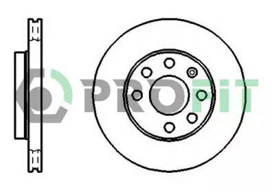 Вентилируемый передний тормозной диск 'PROFIT 5010-1279'.