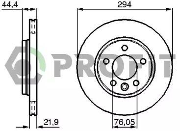 Вентилируемый задний тормозной диск на VOLKSWAGEN MULTIVAN 'PROFIT 5010-1286'.