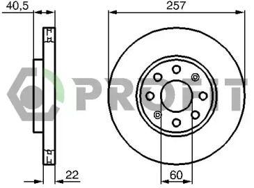 Вентилируемый передний тормозной диск на FIAT GRANDE PUNTO 'PROFIT 5010-1304'.