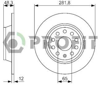 Задний тормозной диск на Фольксваген Тауран 'PROFIT 5010-1306'.