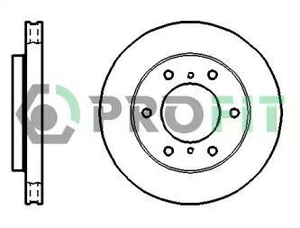 Вентилируемый передний тормозной диск на MITSUBISHI PAJERO 'PROFIT 5010-1384'.