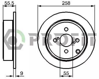 Задний тормозной диск на Тайота Королла 'PROFIT 5010-1419'.