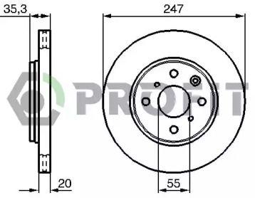 Вентилируемый передний тормозной диск на Ситроен С1 'PROFIT 5010-1527'.