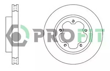 Вентилируемый передний тормозной диск на FORD TRANSIT TOURNEO 'PROFIT 5010-1554'.