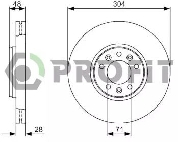 Вентилируемый передний тормозной диск на PEUGEOT 407 'PROFIT 5010-1615'.