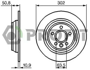 Задний тормозной диск на RANGE ROVER EVOQUE 'PROFIT 5010-1616'.