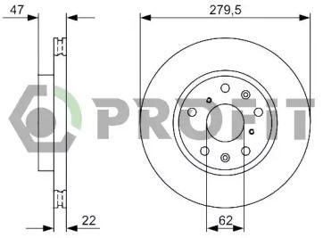 Вентилируемый передний тормозной диск на FIAT SEDICI 'PROFIT 5010-1620'.