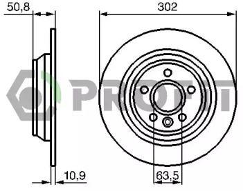 Вентилируемый передний тормозной диск на Сузуки Гранд Витара 'PROFIT 5010-1635'.