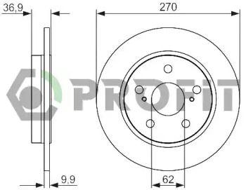 Задний тормозной диск на Тайота Королла 'PROFIT 5010-1645'.
