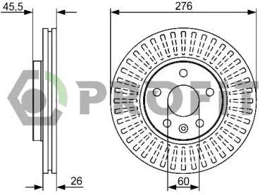 Вентилируемый передний тормозной диск на CHEVROLET CRUZE 'PROFIT 5010-1869'.