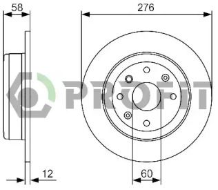 Задний тормозной диск на Шевроле Эпика 'PROFIT 5010-2025'.