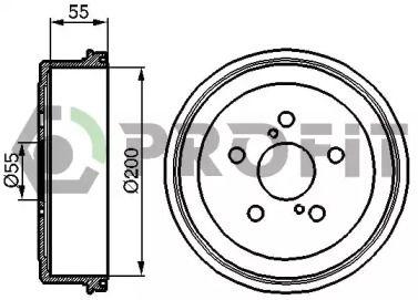 Задний тормозной барабан PROFIT 5020-0085 рисунок 0