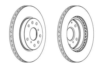 Вентилируемый передний тормозной диск на FIAT SEDICI 'JURID 562534JC'.