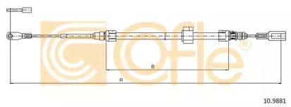 Трос ручника COFLE 10.9881.