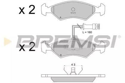 Передние тормозные колодки 'BREMSI BP2163'.