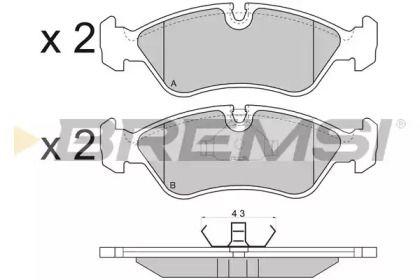 Переднї гальмівні колодки 'BREMSI BP2417'.