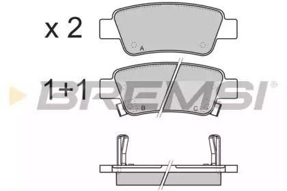 Задні гальмівні колодки 'BREMSI BP3353'.