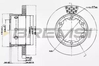 Вентилируемый задний тормозной диск на MERCEDES-BENZ VARIO 'BREMSI DB0191V'.