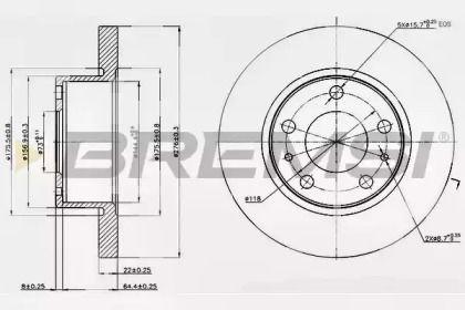Передний тормозной диск на Ивеко Дейли 'BREMSI DB0194S'.