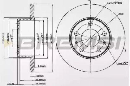 Задний тормозной диск на Ивеко Дейли 'BREMSI DB0195S'.