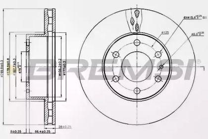 Вентилируемый передний тормозной диск на IVECO DAILY 'BREMSI DB0314V'.