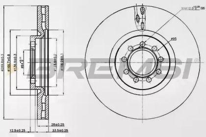 Вентилируемый передний тормозной диск на Ивеко Дейли 'BREMSI DB0317V'.