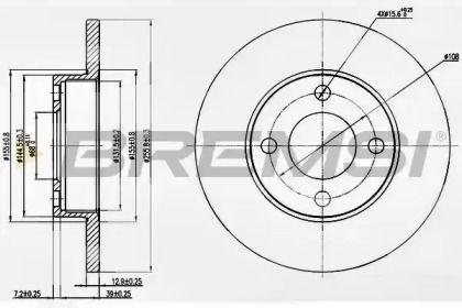 Передний тормозной диск на Ауди 90 'BREMSI DBA048S'.