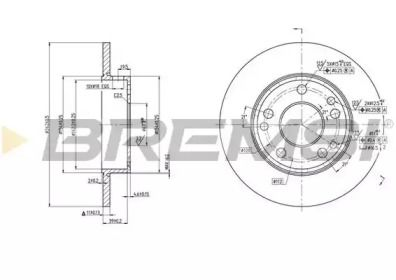 Передний тормозной диск на MERCEDES-BENZ 190 'BREMSI DBA053S'.