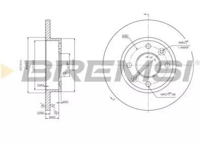Передний тормозной диск на Рено Сандеро 'BREMSI DBA055S'.
