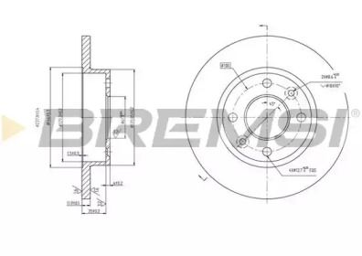 Передний тормозной диск на RENAULT EXPRESS 'BREMSI DBA055S'.