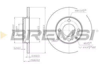 Передний тормозной диск 'BREMSI DBA103S'.