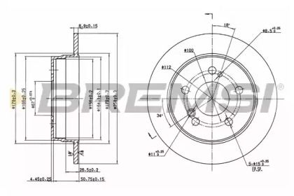 Задний тормозной диск на MERCEDES-BENZ 190 'BREMSI DBA122S'.