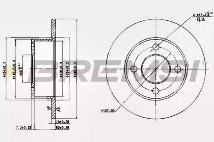 Задний тормозной диск на Ауди 90 'BREMSI DBA128S'.