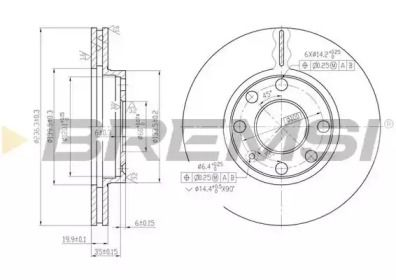 Вентилируемый передний тормозной диск на DAIHATSU CHARADE 'BREMSI DBA151V'.
