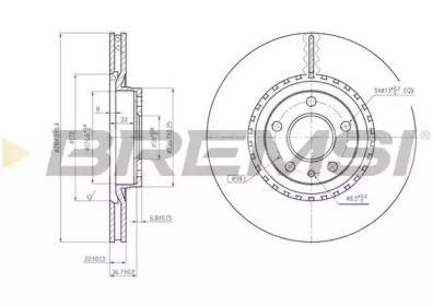 Вентилируемый передний тормозной диск на Альфа Ромео 147 'BREMSI DBA156V'.