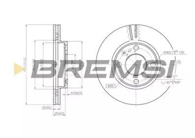 Вентилируемый передний тормозной диск на Ниссан Кабистар 'BREMSI DBA158V'.