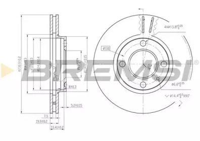 Вентилируемый передний тормозной диск 'BREMSI DBA175V'.