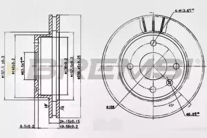 Вентилируемый передний тормозной диск на FORD ECONOVAN 'BREMSI DBA183V'.