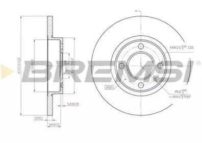 Передний тормозной диск на SEAT INCA 'BREMSI DBA205S'.