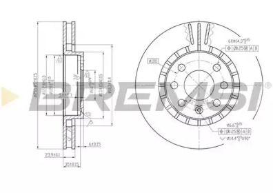 Вентилируемый передний тормозной диск на Опель Калибра 'BREMSI DBA206V'.