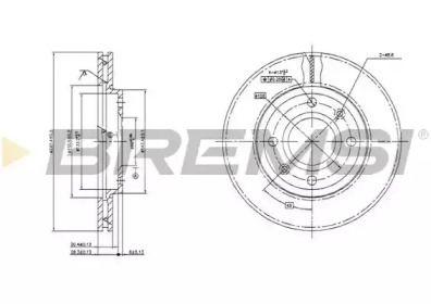 Вентилируемый передний тормозной диск на Пежо 309 'BREMSI DBA214V'.