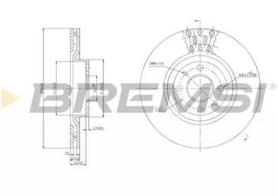 Вентилируемый передний тормозной диск на FIAT QUBO 'BREMSI DBA220V'.